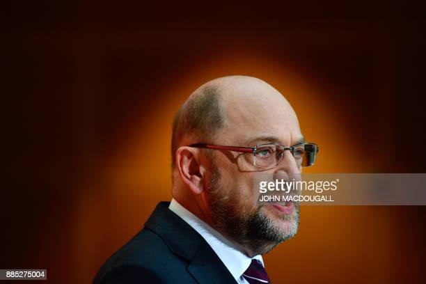 Martin Schulz leader of Germany's social democrat SPD party addresses journalists following a meeting with his party's leadership on December 4 2017...