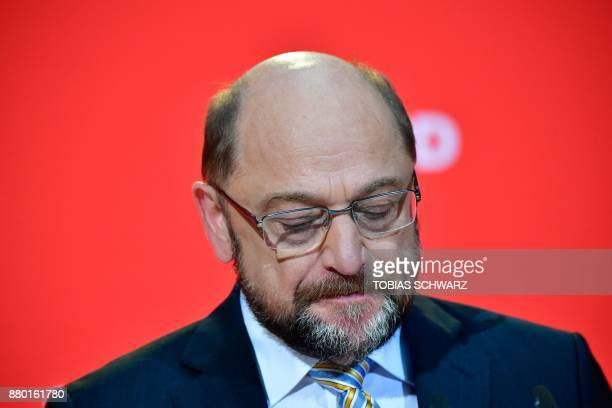 Martin Schulz leader of Germany's social democrat SPD party gives a press conference on November 27 2017 at his party's headquarters in Berlin / AFP...