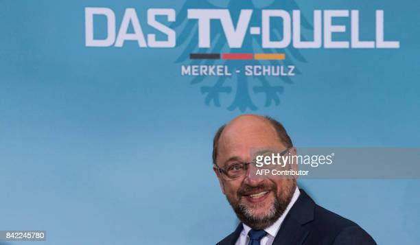 Martin Schulz leader of Germany's social democratic SPD party and candidate for Chancellor arrives for a televised debate at a television studio in...