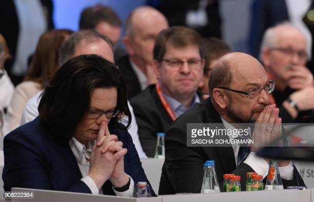 Martin Schulz leader of Germany's social democratic SPD party and German Labour and Social Minister Andrea Nahles attend an extraordinary SPD party...