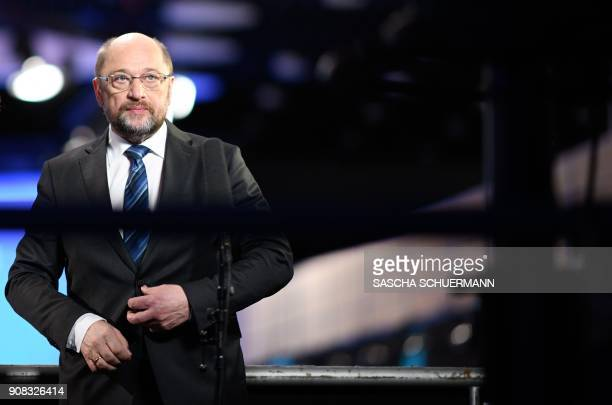 Martin Schulz leader of Germany's social democratic SPD party gives an interview at the end of an extraordinary SPD party congress in Bonn western...