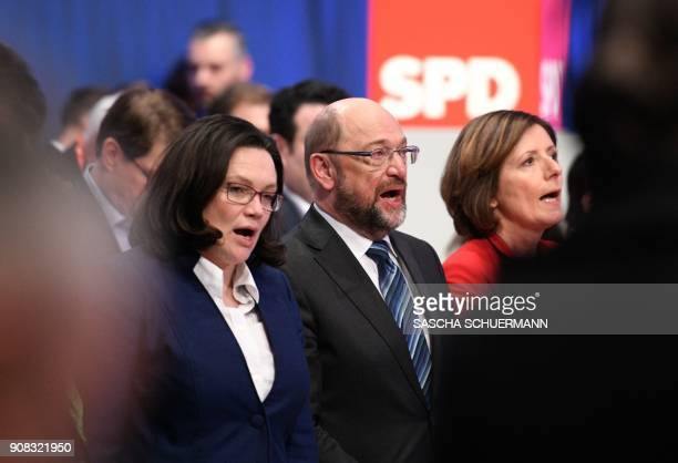 Martin Schulz leader of Germany's social democratic SPD party SPD parliamentary group leader Andrea Nahles and RhinelandPalatinate's State Premier...