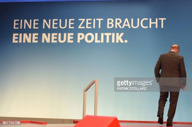Martin Schulz, leader of Germany's social democratic SPD party, speaks with journalists as he inspects the venue of a party congress on January 20,...