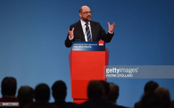 Martin Schulz, leader of Germany's social democratic SPD party, speaks to delegates during an extraordinary SPD party congress in Bonn, western...
