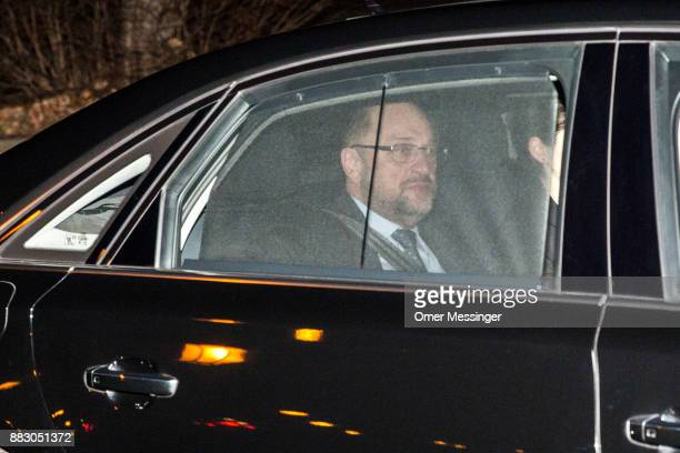 Martin Schulz leader of the German Social Democrats arrives for a meeting of the SPD the German Christian Democrats and the Bavarian Christian...