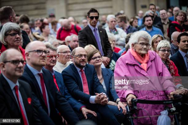 Martin Schulz leader of the German Social Democrats sits at the final SPD campaign rally in state elections in North RhineWestphalia on May 12 2017...