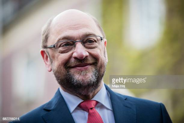 Martin Schulz, leader of the German Social Democrats smiles during his SPD campaign prior state elections in North Rhine-Westphalia on May 12, 2017...