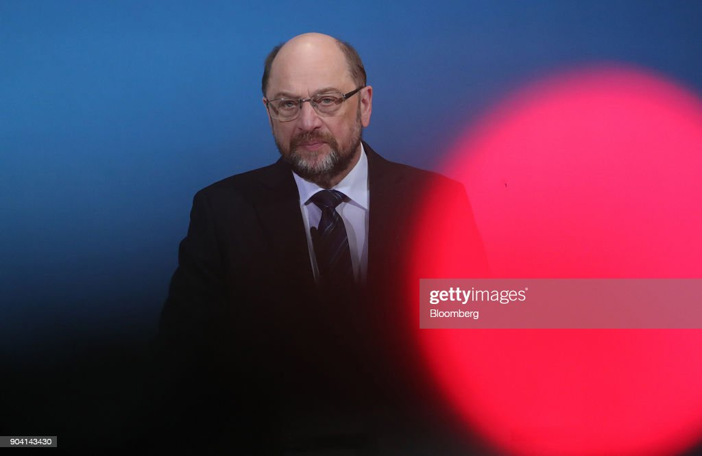 Martin Schulz, leader of the Social Democrat Party (SPD), looks on during a news conference following overnight coalition negotiations, at the SPD headquarters in Berlin, Germany, on Friday, Jan. 12, 2018. After a marathon of more than 24 hours of talks to end Germanys political gridlock, leaders of Merkels Christian Democratic Union, her Bavarian sister party and the Social Democrats hammered out a 28-page agreement. Photographer: Krisztian Bocsi/Bloomberg via Getty Images