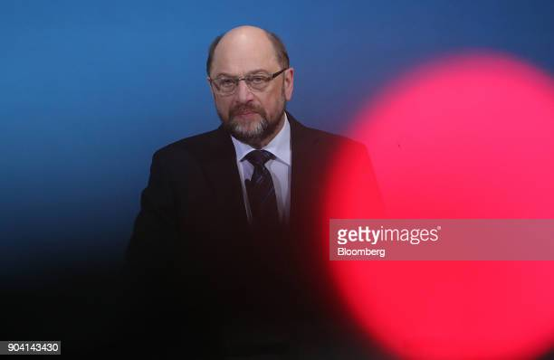 Martin Schulz leader of the Social Democrat Party looks on during a news conference following overnight coalition negotiations at the SPD...