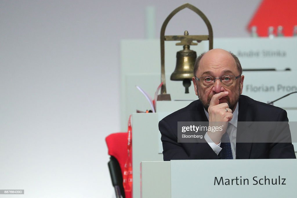 Martin Schulz, leader of the Social Democrat Party (SPD), looks on during the SPD's federal party convention in Berlin, Germany, on Thursday, Dec. 7, 2017. Germanys Social Democrats are testing support for a renewed alliance with Chancellor Angela Merkel with a party convention vote that's a crucial hurdle in her quest for a fourth term. Photographer: Krisztian Bocsi/Bloomberg via Getty Images