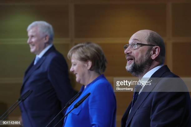 Martin Schulz leader of the Social Democrat Party speaks during a news conference following overnight coalition negotiations at the SPD headquarters...