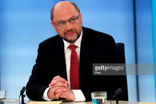 Martin Schulz, leader of the Social Democratic Party and top candidate for Chancellor attends a TV discussion with the top candidates in the German...