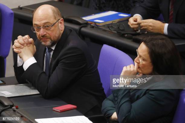 Martin Schulz leader of the Social Democrats Party or and Andrea Nahles chairman of the SPD Fraction in Bundestag pause during the first session of...