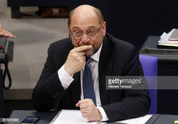 Martin Schulz leader of the Social Democrats Party or pauses during the first session of the Bundestag the German parliament since the collapse of...