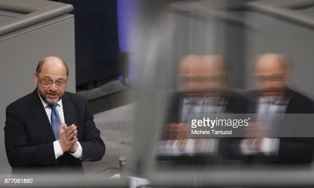 Martin Schulz leader of the Social democrats party speaks for the first time during the first session of the Bundestag the German parliament since...