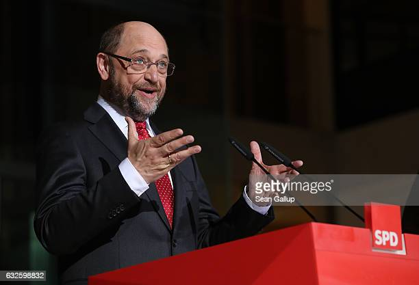 Martin Schulz leading German Social Democrats member and until recently president of the European Parliament speaks to the media with Vice Chancellor...