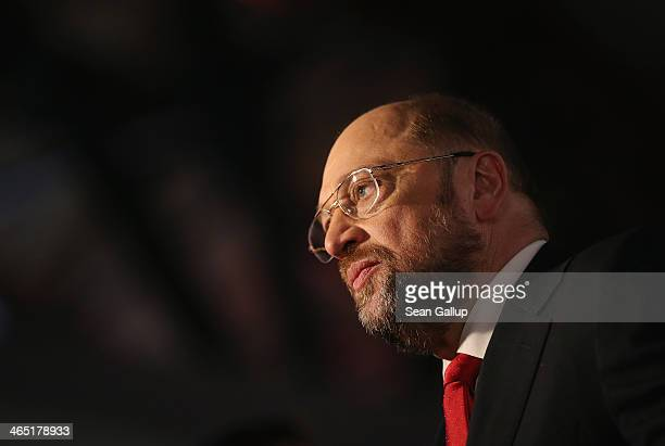 Martin Schulz, President of the European Parliament and member of the German Social Democrats , gives a television interview after SPD delegates...