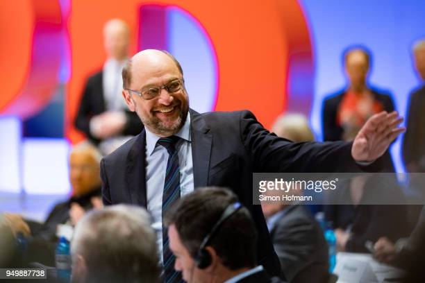 Martin Schulz reacts during an SPD federal party congress on April 22 2018 in Wiesbaden Germany Delegates will vote on a new party leader to replace...