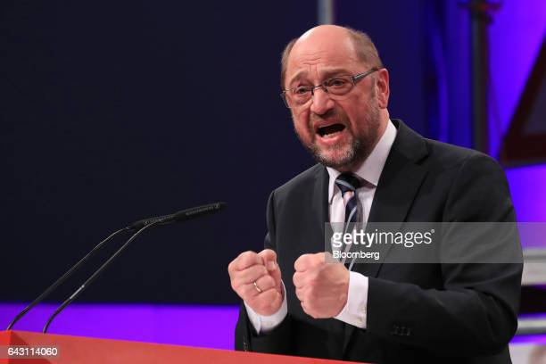 Martin Schulz Social Democrat Party candidate for German Chancellor gestures as he speaks during a SPD labour conference in Bielefeld Germany on...