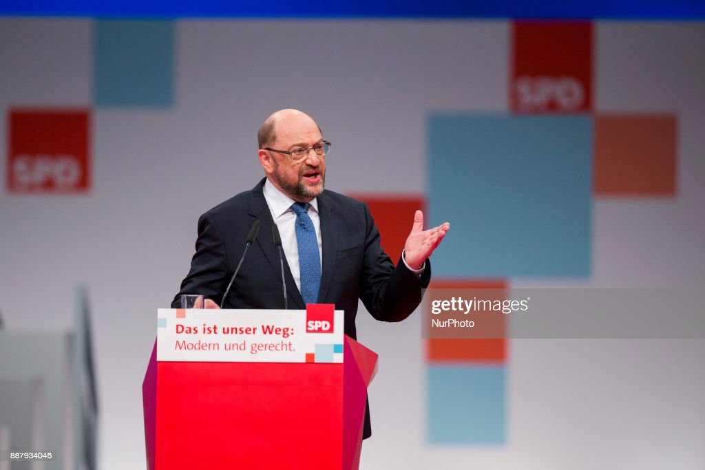 Martin Schulz speaks during the party congress of the German Social Democratic Party in Berlin, Germany on December 7, 2017.