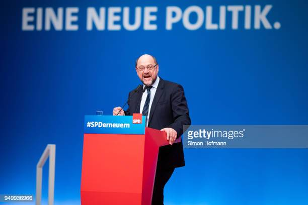 Martin Schulz speaks to delegates at a federal party congress of the German Social Democrats following the election of Andrea Nahles as new party...