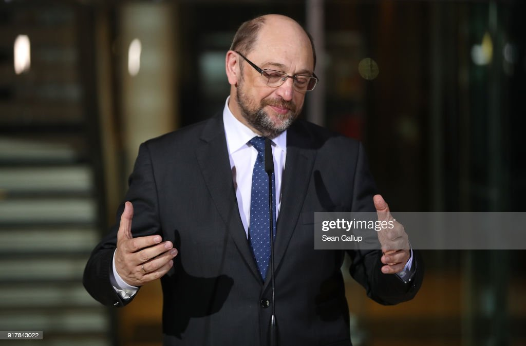 Martin Schulz speaks to the media to announce he is stepping down as leader of the German Social Democrats (SPD) at SPD headquarters on February 13, 2018 in Berlin, Germany. The party is currently in crisis, with its popularity plummeting in polls down to under 17% following chaos in its leadership. Schulz said he is proposing SPD Bundestag leader Andrea Nahles relpace him, though it will take an SPD congress on April 22 to decide. Until then it is unclear who will lead the party.