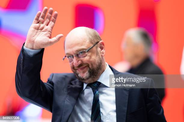 Martin Schulz waves at a federal party congress of the German Social Democrats following the election of Andrea Nahles as new party leader on April...