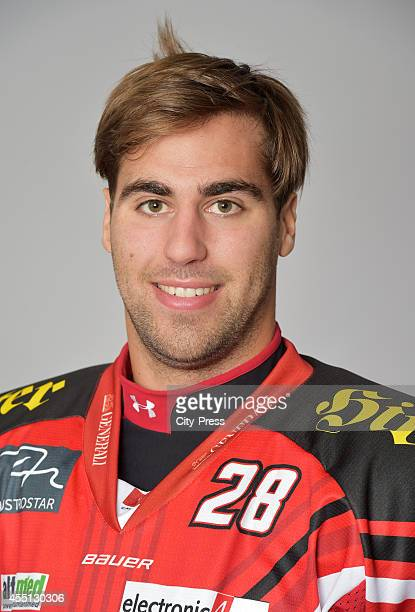 Martin Schumnig of EC KAC during the portrait shot on august 15, 2014 in Augsburg, Germany.