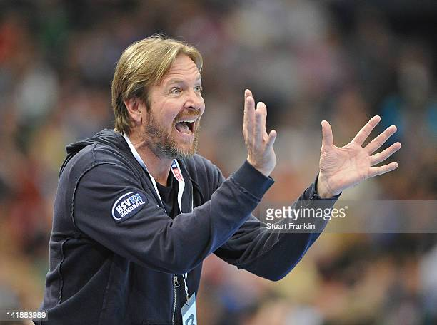 Martin Schwalb coach of Hamburg reacts during the EHF Champions League match between HSV Hamburg and Fuechse Berlin at the O2 World on March 25 2012...