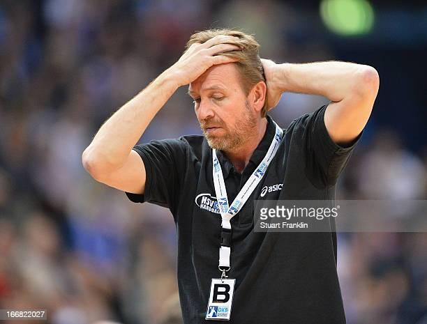 Martin Schwalb head coach of Hamburg gestures during the DKB Bundesliga handball game between HSV Hamburg and TUSEM Essen at O2 World on April 17...