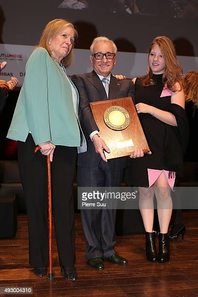 Martin Scorcese and his wife Helen Morris and his daughter Francesca attend the Tribute to Martin Scorsese as part of the 7th Film Festival Lumiere...