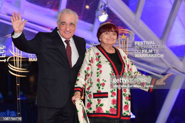 Martin Scorsese and Agnes Varda attend the Tribute to Agnes Varda during the 17th Marrakech International Film Festival on November 2, 2018 in...