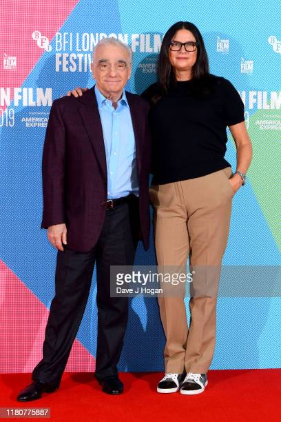 Martin Scorsese and Emma Tillinger Koskoff attend The Irishman Photocall during the 63rd BFI London Film Festival at The May Fair Hotel on October 13...