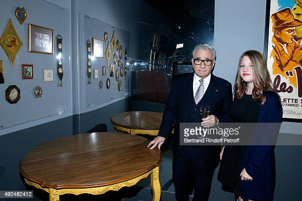 Martin Scorsese and his daughter Francesca pose near the Scorsese Family Table during the Tribute to Director Martin Scorsese at Cinematheque...