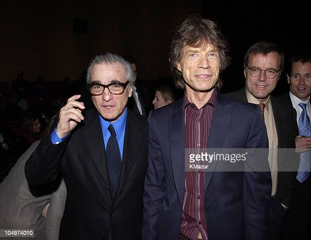 Martin Scorsese and producer Mick Jagger during 'Enigma' New York City Premiere at Beekman Theatre in New York City New York United States