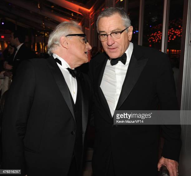 Martin Scorsese and Robert DeNiro attend the 2014 Vanity Fair Oscar Party Hosted By Graydon Carter on March 2 2014 in West Hollywood California