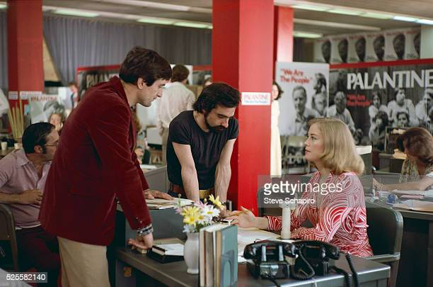 Martin Scorsese directing Robert De Niro and Cybill Shepherd in Palantine's campaign office on the set of Taxi Driver