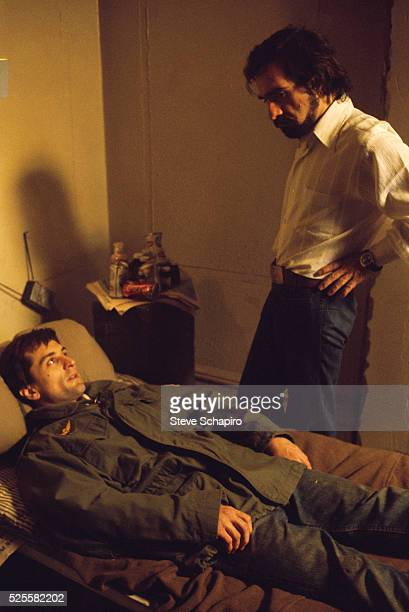 Martin Scorsese directing Robert De Niro during the filming of Taxi Driver