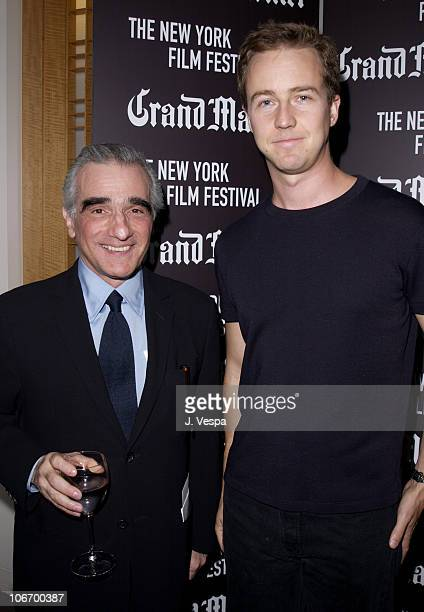 Martin Scorsese Edward Norton during NY Film Festival Night of the Hunter Screening 1st FIAF Award for preservation to Martin Scorsese at Lincoln...