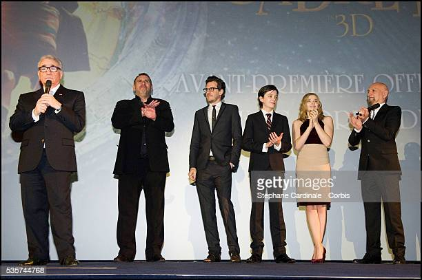 Martin Scorsese Graham King Brian Selznick Asa Butterfield Chloe Moretz and Sir Ben Kingsley attend the premiere of 'Hugo Cabret 3D' in Paris