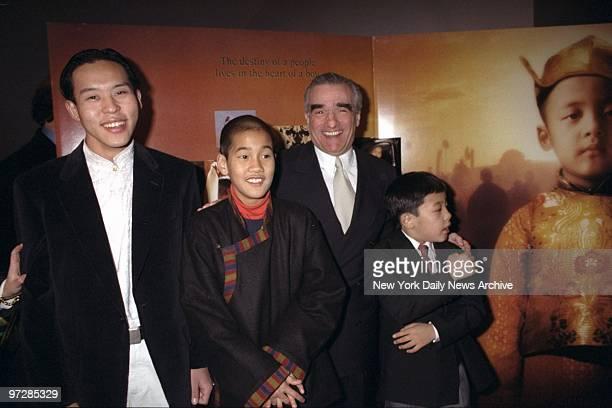 Martin Scorsese joins cast members Tenzin Thuthob Tsarong Gyurme Tethong and Tulku Jamyang Kunga Tenzin at the premiere of 'Kundun' at the Loews...