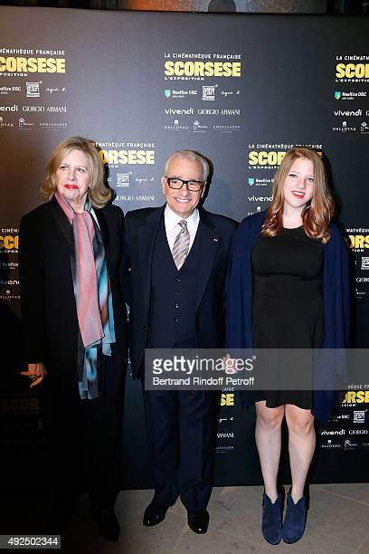 Martin Scorsese standing between his wife Helen Morris and their daughter Francesca attend the Tribute to Director Martin Scorsese at Cinematheque...