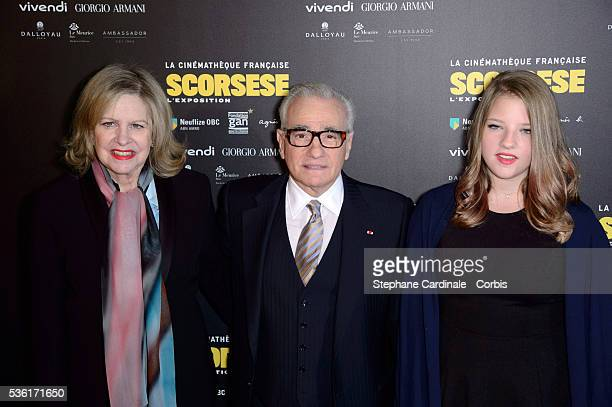Martin Scorsese standing between his wife Helen Morris and their daughter Francesca attend the Tribute to Director Martin Scorcese at Cinematheque...