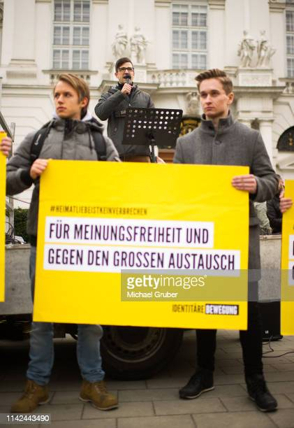 Martin Sellner leader of the farright Identitarian Movement in Austria speaks during an Identitarian protest in front of the Justice Ministry on...