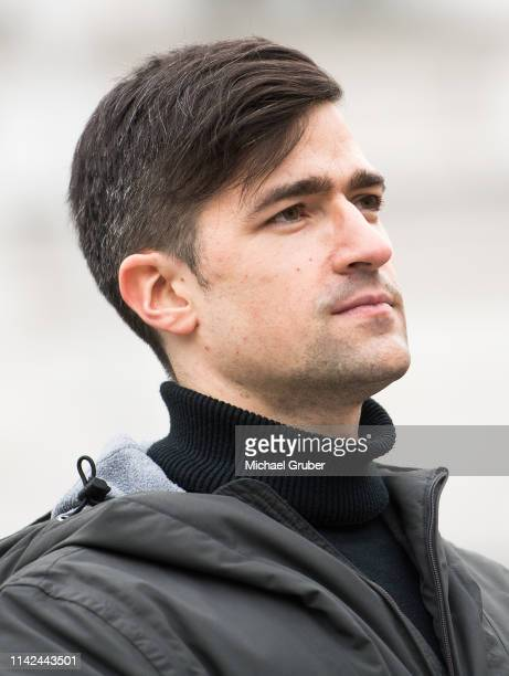 Martin Sellner leader of the farright Identitarian Movement in Austria attends during an Identitarian protest in front of the Justice Ministry on...