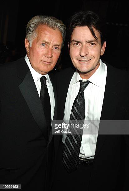 Martin Sheen and Charlie Sheen presenters during 58th Annual Primetime Emmy Awards Backstage at The Shrine Auditorium in Los Angeles California...