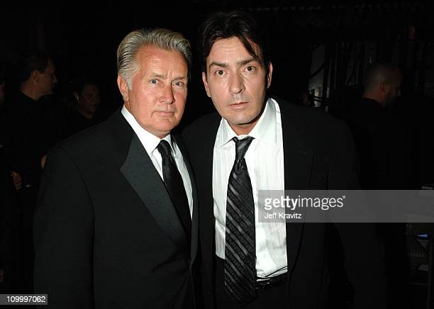 Martin Sheen and Charlie Sheen, presenters during 58th Annual Primetime Emmy Awards - Backstage at The Shrine Auditorium in Los Angeles, California,...