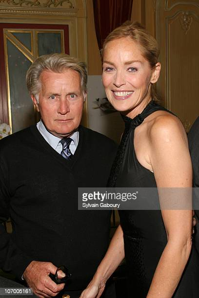 Martin Sheen and Sharon Stone during Harvey Weinstein Hosts a Private Dinner and Screening of Bobby for Senators Obama and Schumer at Plaza Athenee...