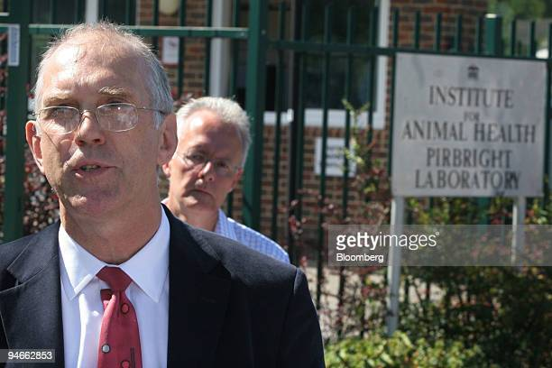 Martin Shirley director of the Institute for Animal Health briefs the media outside the company's premises at Pirbright Surrey UK on Sunday Aug 2007...