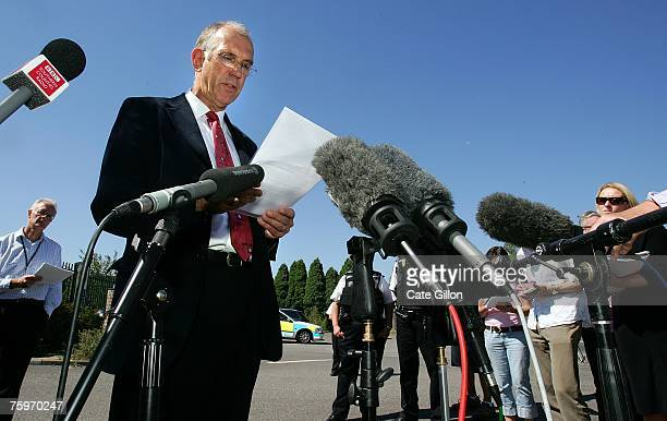 Martin Shirley the director of the Institute for Animal Health Pirbright Laboratory speaks to the press on August 5 2007 in Pirbright England The...